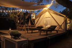 glamping tent patio