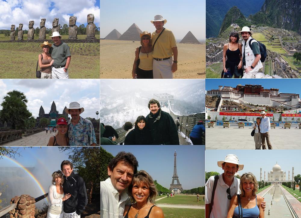 Ann & John at famous sites around the world