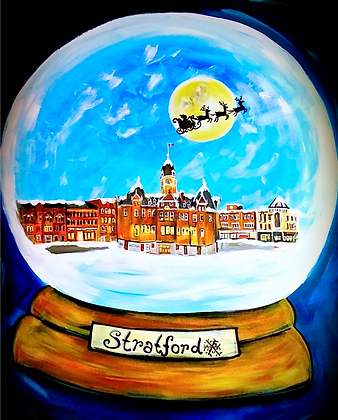 """""""Stratford Snowglobe"""" 2018 - Pack of 5 Christmas Cards"""