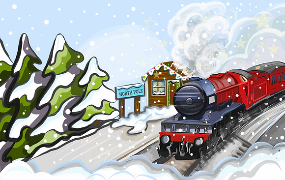 """North Pole Express"" Cards Pack x 5 - Christmas Greeting inside"