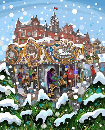 """Christmas Carousel,"" Christmas cards, pack of 5 Pre Order for November 2nd"
