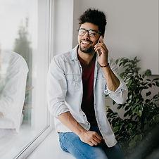 Homem, ligado, telefone móvel