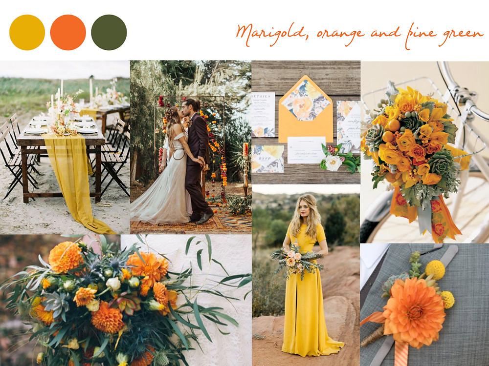 marigold, orange, pine green, yellow wedding colours, fall palette, wedding palette, destination wedding portugal, lisbon. white dots wedding planning