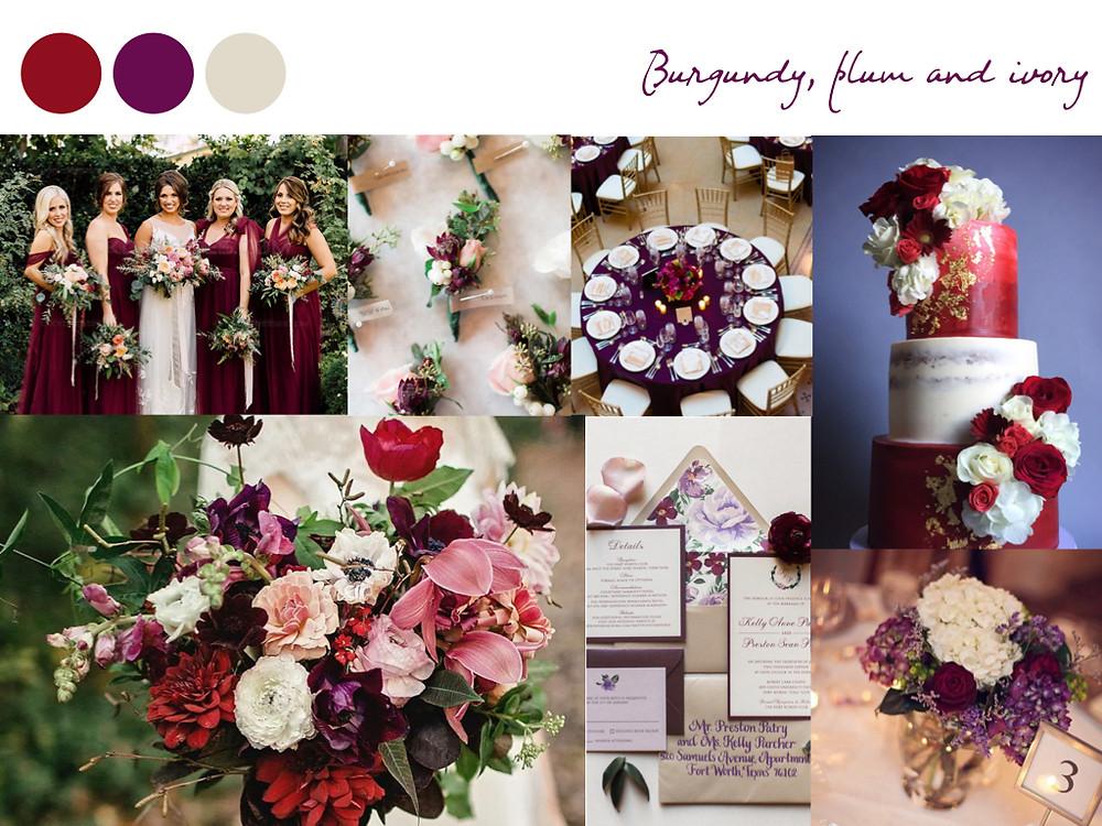 burgundy plum, ivory dark red, violet wedding colours, fall palette, wedding palette, destination wedding portugal, lisbon. white dots wedding planning