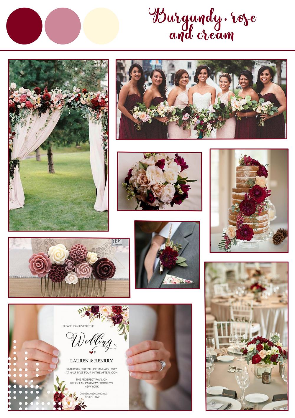 Burgundy rose cream spring color palette, destination wedding portugal