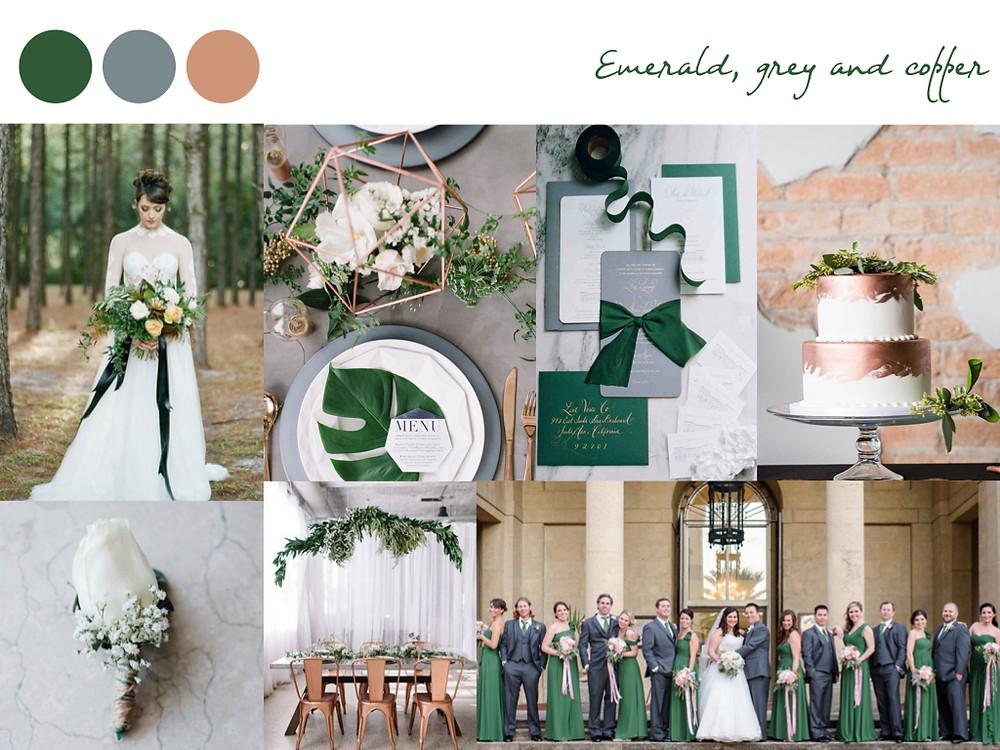Emerald, grey, copper wedding colours, fall palette, wedding palette, destination wedding portugal, lisbon. white dots wedding planning