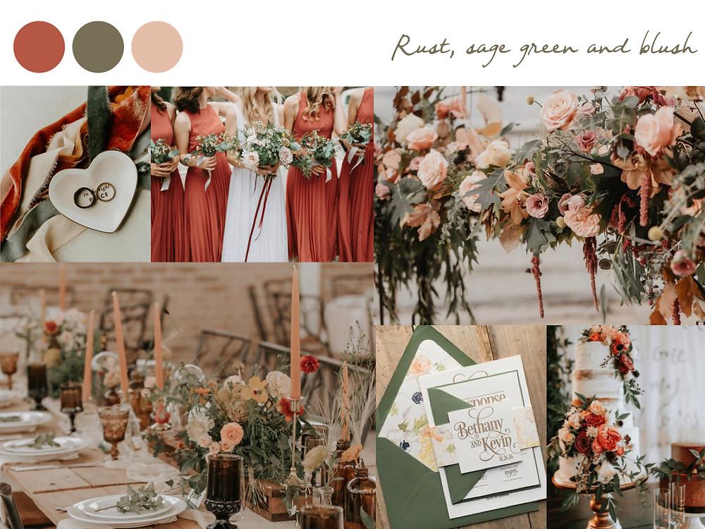 Rust sage green blush wedding colours, fall palette, wedding palette, destination wedding portugal, lisbon. white dots wedding planning