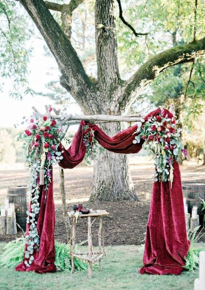 velvet wedding arch. Portugal wedding planning