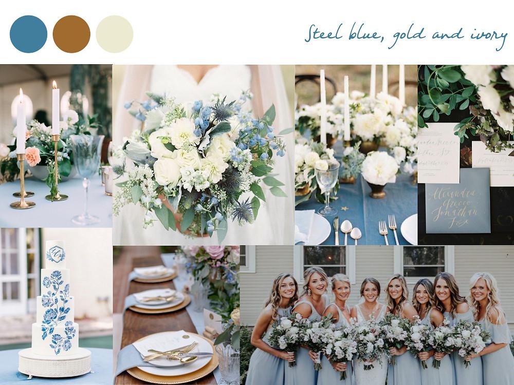 steel blue, gold, ivory, dusty blue wedding colours, fall palette, wedding palette, destination wedding portugal, lisbon. white dots wedding planning