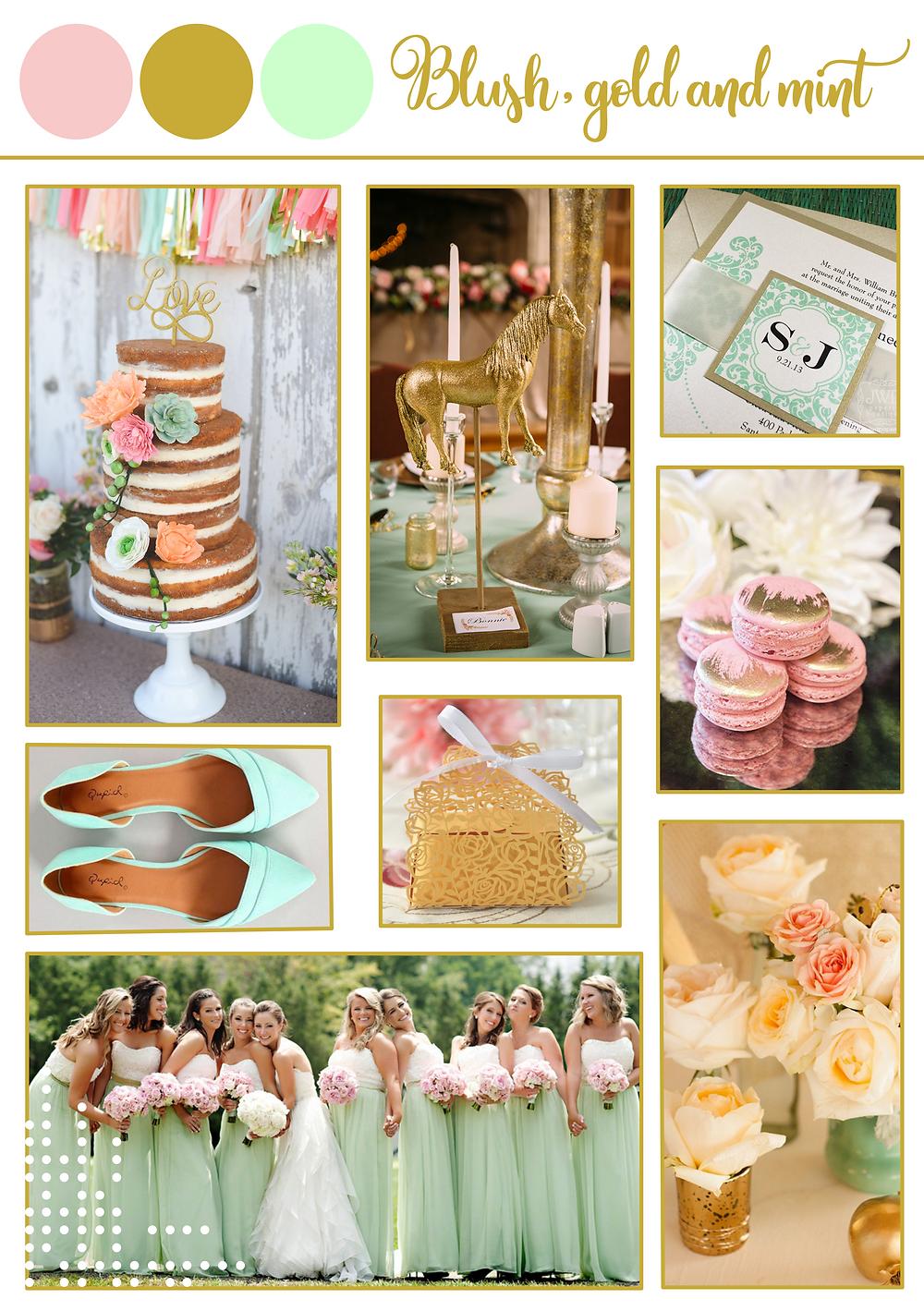 Blush gold mint spring color palette. destination wedding portugal