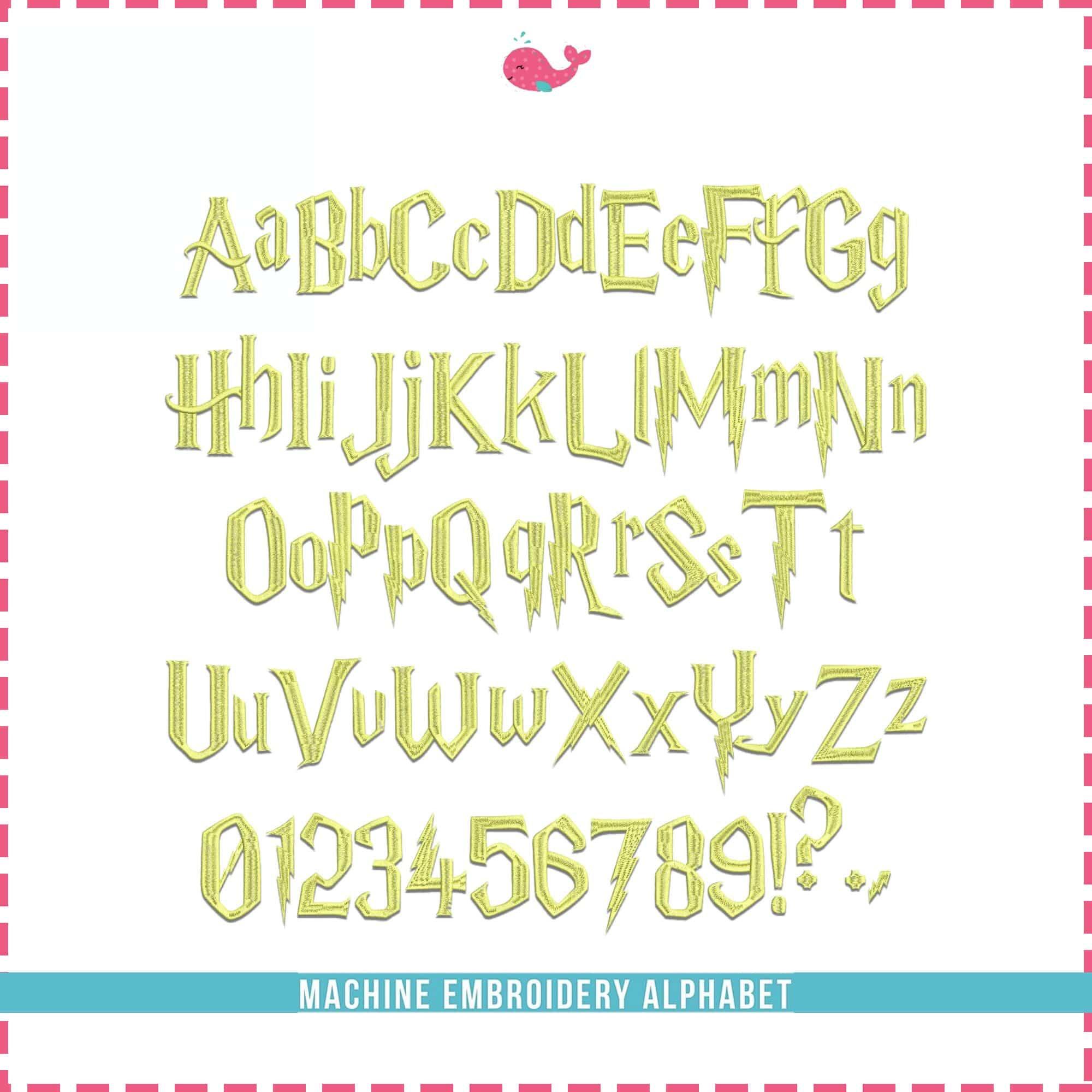 Magic School Font Embroidery Design Monogram Alphabet 4 Sizes 8 Formats BX