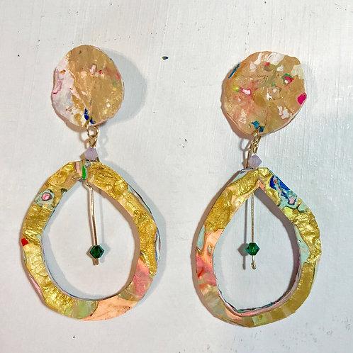 Golden Tear Drops Dangle and Drop Earrings