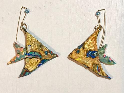 Golden Angel Fish Dangle and Drop Earrings
