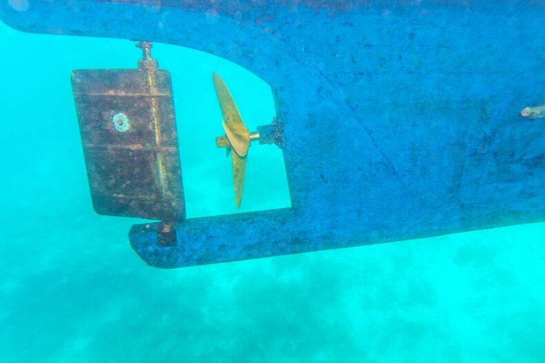 ship's rudder under water