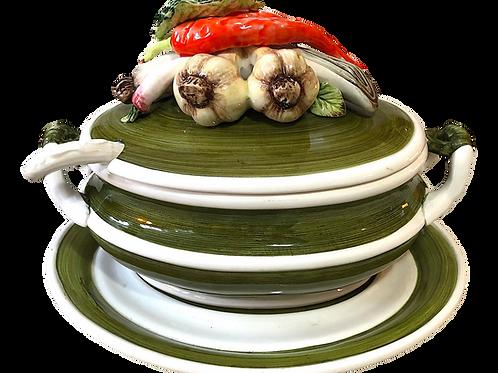 Mid-Century Trompe l'Oeil Vegetable Majolica Tureen, Under Plate, and Ladle