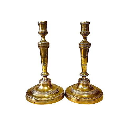 Early 19th Century French Directoire Gilt Brass Candlesticks