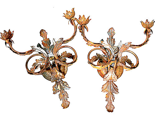 SOLD: Florentine Tole Metal Sconces - PAIR