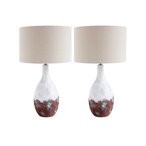 SOLD: Mid-Century Mod Reactive Glaze Lamps - Pair