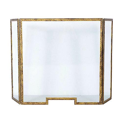 SOLD: Gilt Brass & Tempered Glass Fire Screen