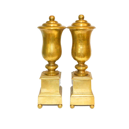SOLD: Neoclassical Turned Brass Urn Andirons - Firedogs