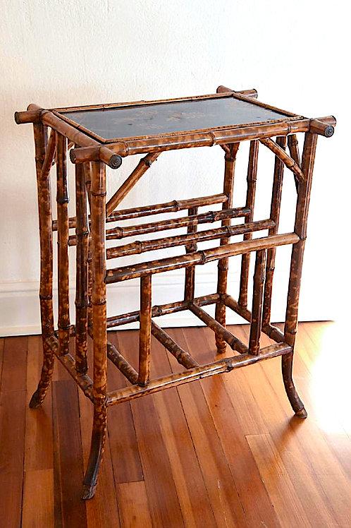 SOLD! Regency Tortoise Bamboo Table - Japanned Top