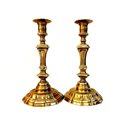 Louis XV Brass Candlesticks - Antique Pair