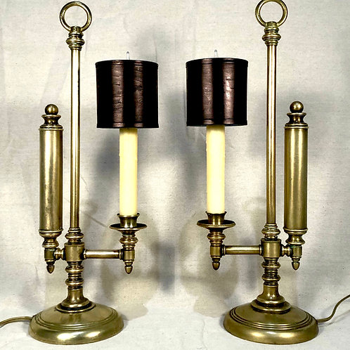 Vintage Brass and Tole Bouillotte Lamps - Pair