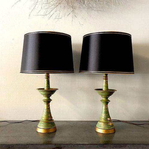 SOLD: Mid-Century Brush Glazed Ceramic Lamps - PAIR