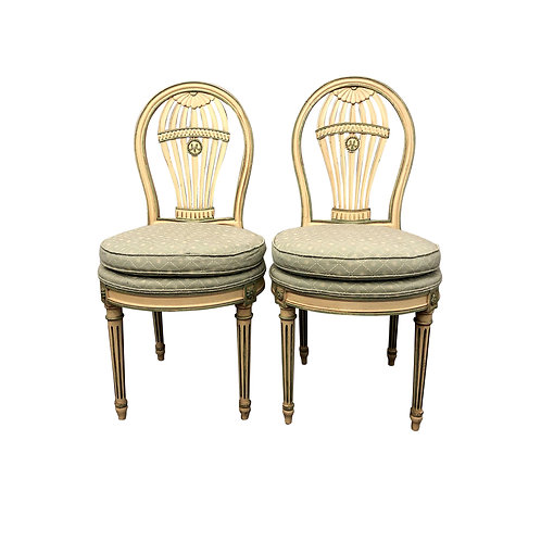 SOLD: Maison Jansen Louis XVI Montgolfier Balloon Chairs - Pair