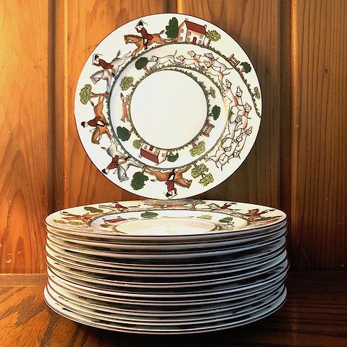 SOLD: Coalport Hunt Scene Salad Plates - DOZEN