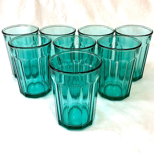 SOLD: Luminarc French Turquoise Teal 10 Panel Tall Tumblers - Set of Eight