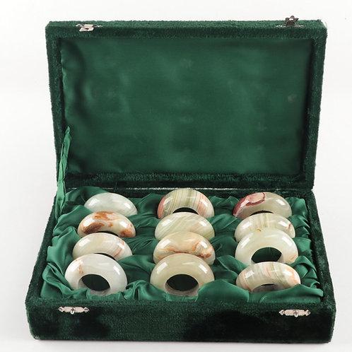 SOLD: Onyx Napkin Rings - SET OF TWELVE