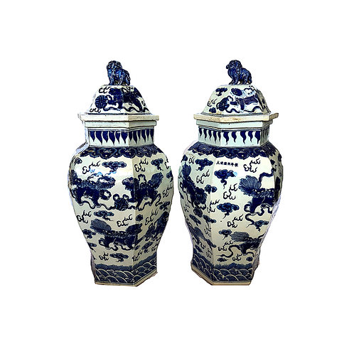 SALE: Qing Dynasty Hexagonal Temple Jars with Foo Lids - PAIR