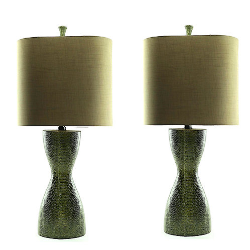 SOLD: Faux Snakeskin Lamps With Custom Shades - a Pair