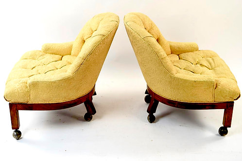 SOLD: Mid-Century Crewel Tufted Club Chairs - PAIR