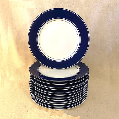 SOLD: Fitz and Floyd Rondelet Blue Dinner Plates - Set of 13