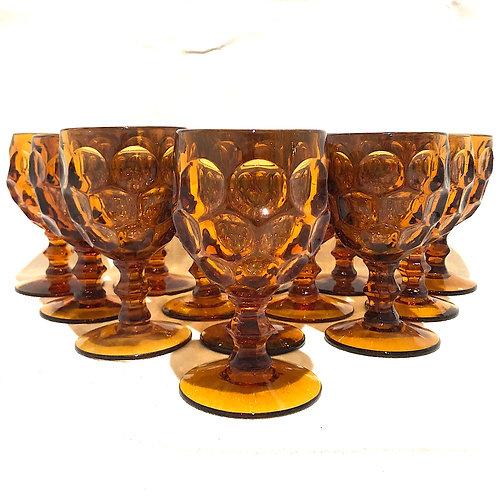 1960's Amber Provincial Goblets - Baker's Dozen