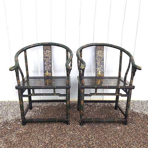 SOLD: 19th Century Chinese Horseshoe Back Chairs - Lacquered & Decorated - Pair