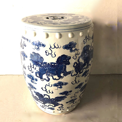 Antique Chinese Flying Foo Lions Porcelain Garden Stool
