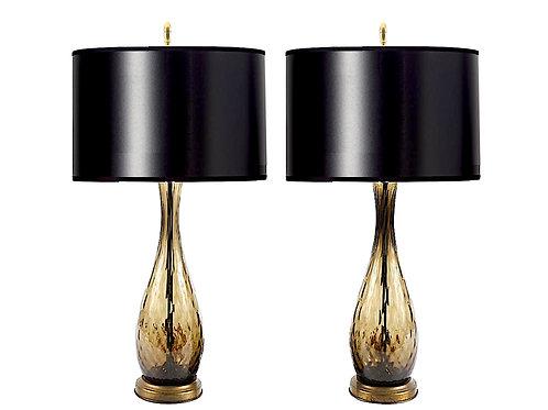 SOLD: Murano Smoke Glass Mid-Century Lamps - Pair