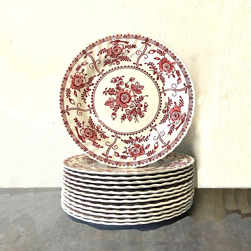 SOLD: 1970s Johnson Brothers Indies Red Transferware Dinner Plates - Set of 13