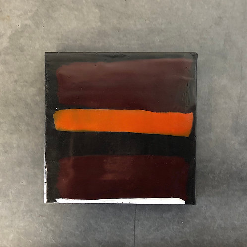 Original Encaustic Orange & Ox Blood Abstract Painting by Susan Gellner