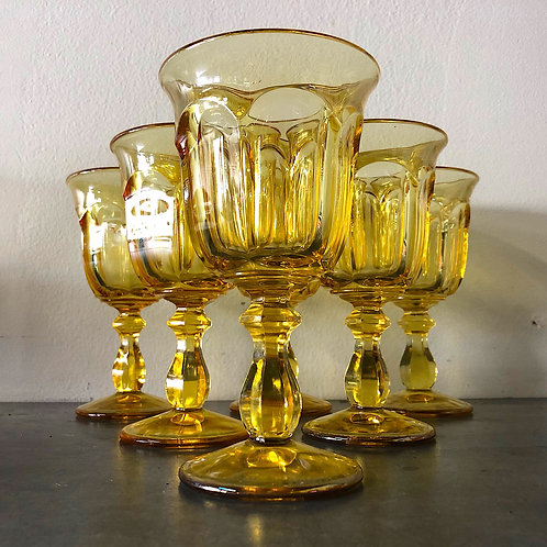 SOLD: Heisey Old Williamsburg Yellow Water Goblets - Set of 6