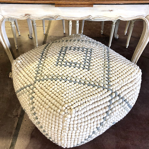 SOLD: New Zealand Wool Bubble Weave Pouf