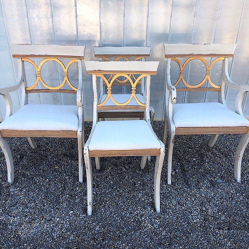 SOLD: Vintage Regency Neoclassical Dining Chairs - Set of Four