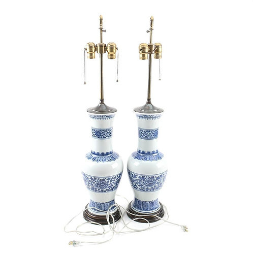 SOLD! Chinoiserie Blue & White Lamps - Pair