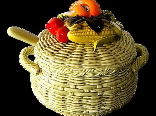 Mid-Century Majolica Basket Tureen & Ladle - Trompe l'Oeil Vegetables