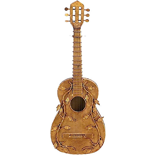 Mid-Century Gilded Guitar Wall Sculpture