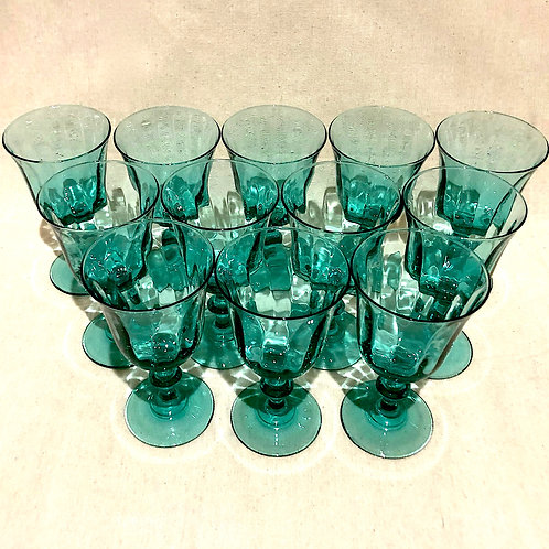 Vintage French Teal Turquoise Goblets - Set of 12