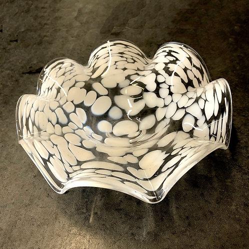 SOLD: Mid-Century Murano White Swirl with Ruffle Bowl